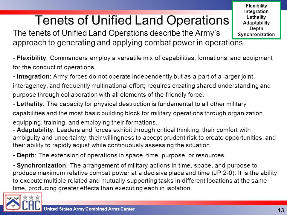 Tenets of Unified Land Operations