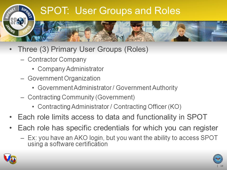 SPOT: User Groups and Roles