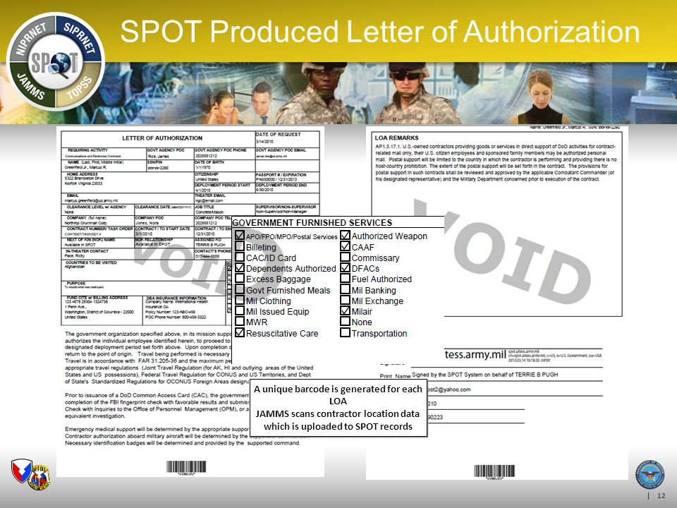 SPOT Produced Letter of Authorization