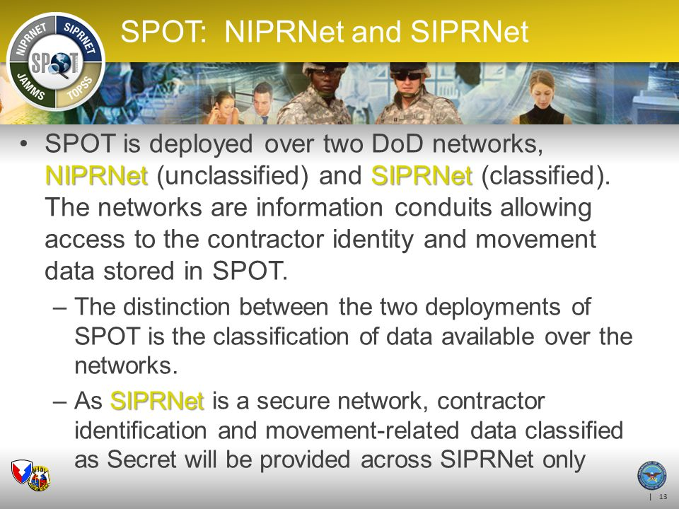 SPOT: NIPRNet and SIPRNet
