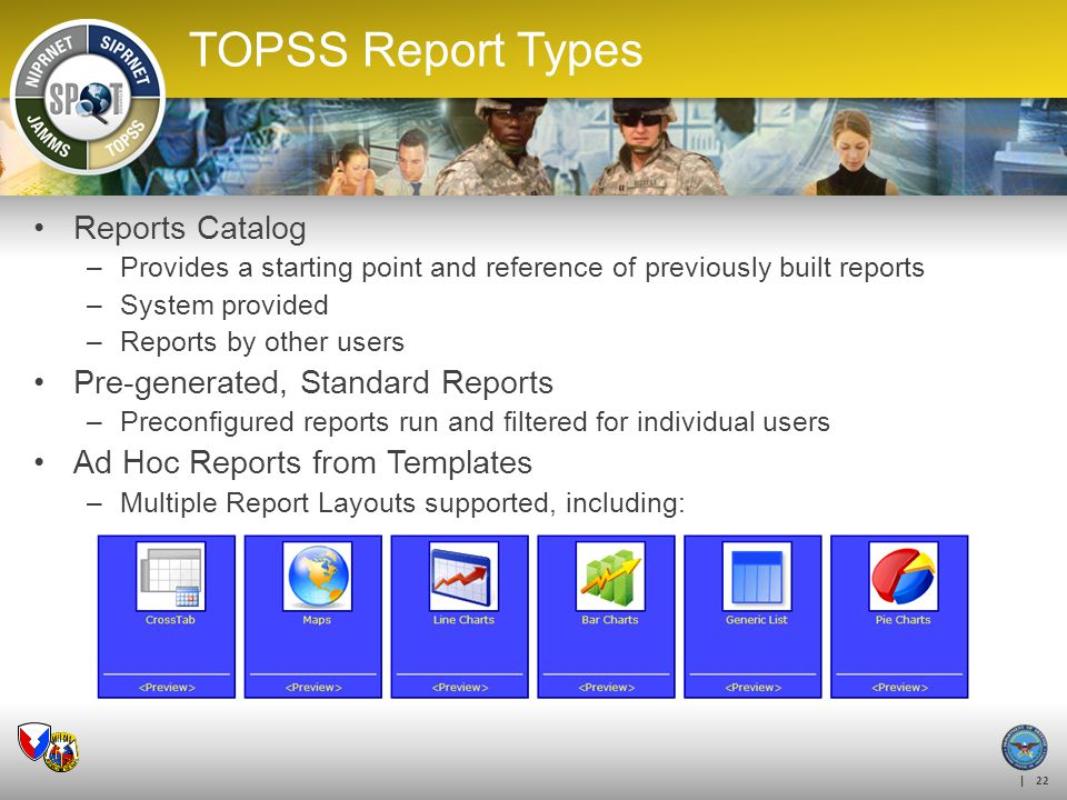 TOPSS Report Types Reports Catalog Pre-generated, Standard Reports