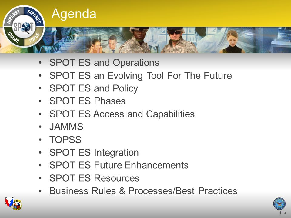 Agenda SPOT ES and Operations SPOT ES an Evolving Tool For The Future