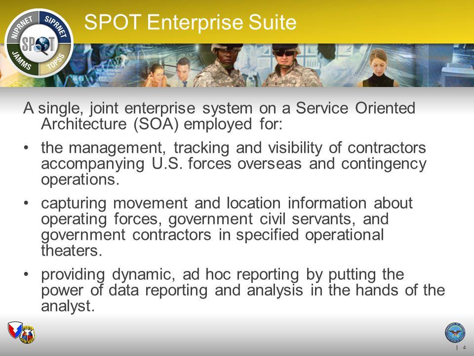 SPOT ES OUTREACH 4/6/2017. SPOT Enterprise Suite. A single, joint enterprise system on a Service Oriented Architecture (SOA) employed for: