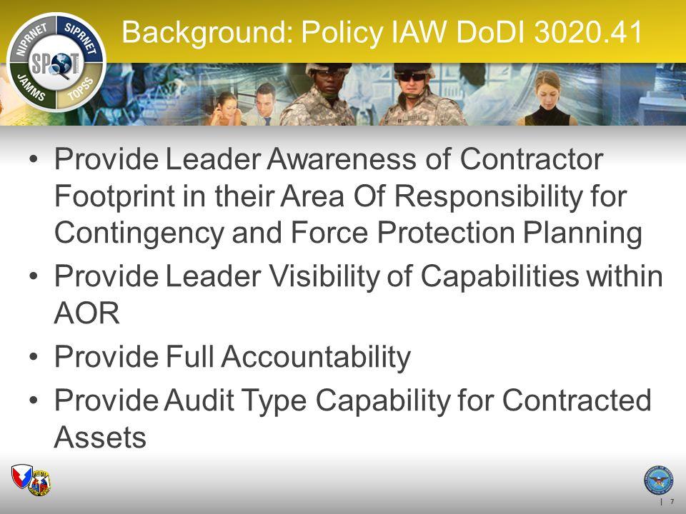 Background: Policy IAW DoDI 3020.41