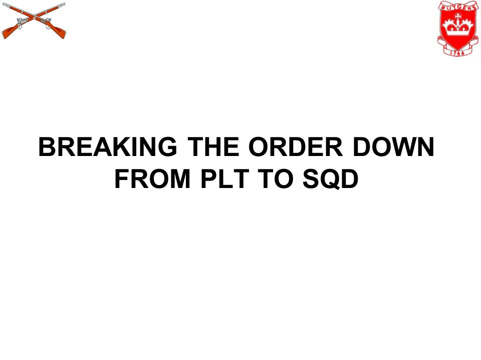 BREAKING THE ORDER DOWN FROM PLT TO SQD