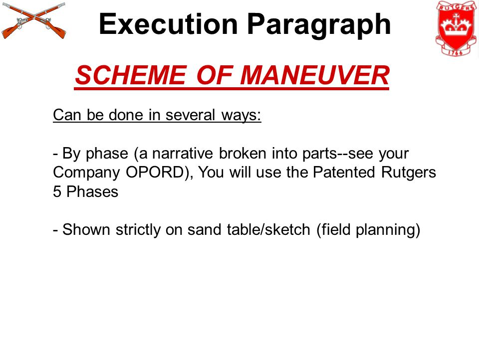 Execution Paragraph SCHEME OF MANEUVER Can be done in several ways: