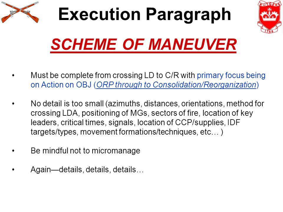 Execution Paragraph SCHEME OF MANEUVER