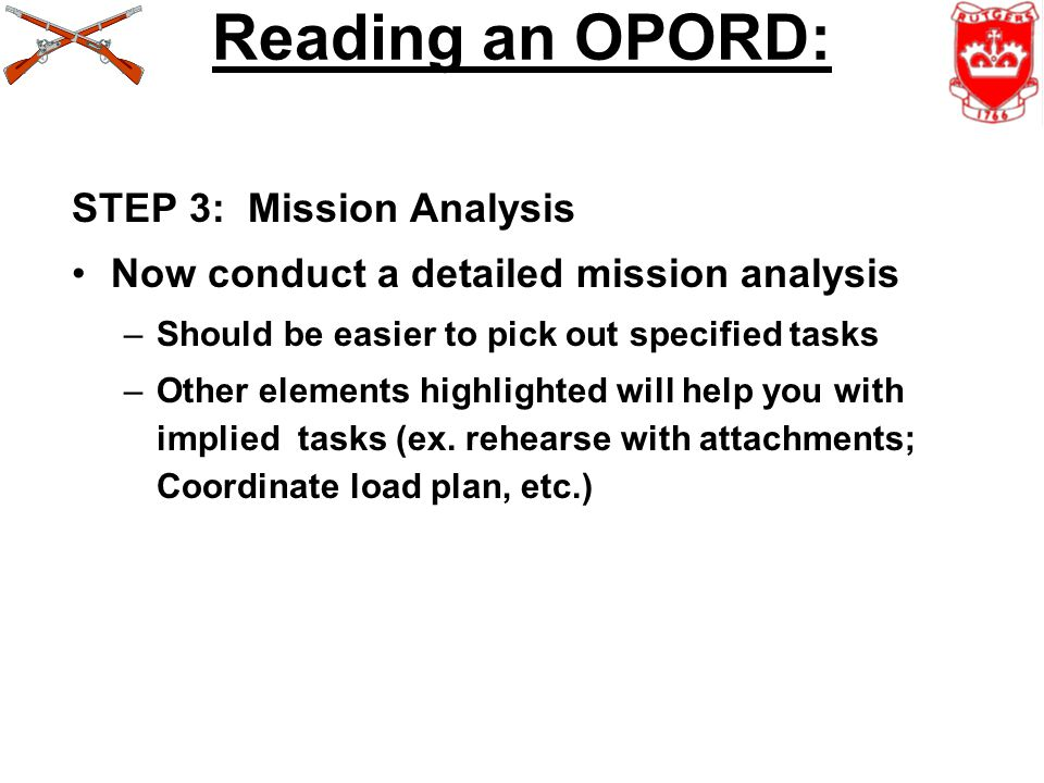 Reading an OPORD: STEP 3: Mission Analysis