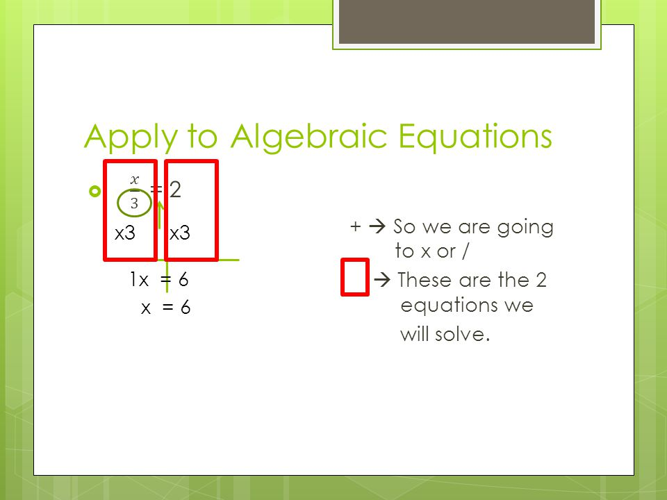 Apply to Algebraic Equations