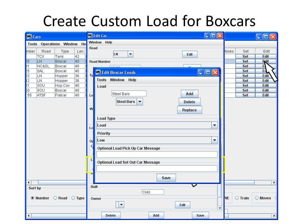 Create Custom Load for Boxcars