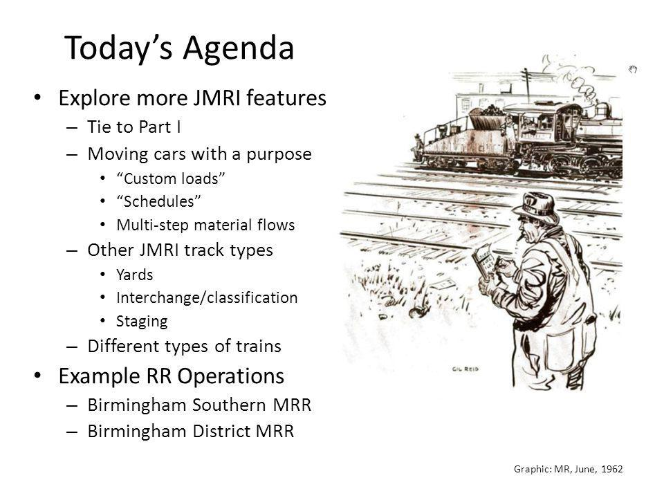 Today's Agenda Explore more JMRI features Example RR Operations