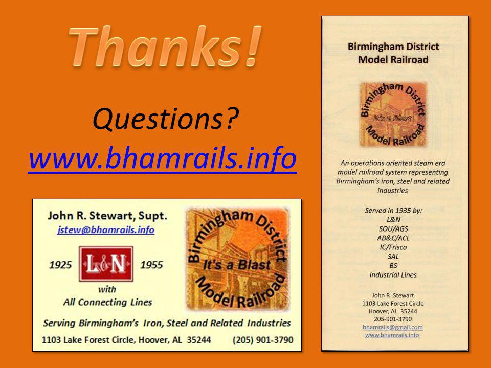 Thanks! Questions www.bhamrails.info