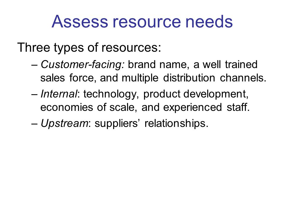 Assess resource needs Three types of resources: