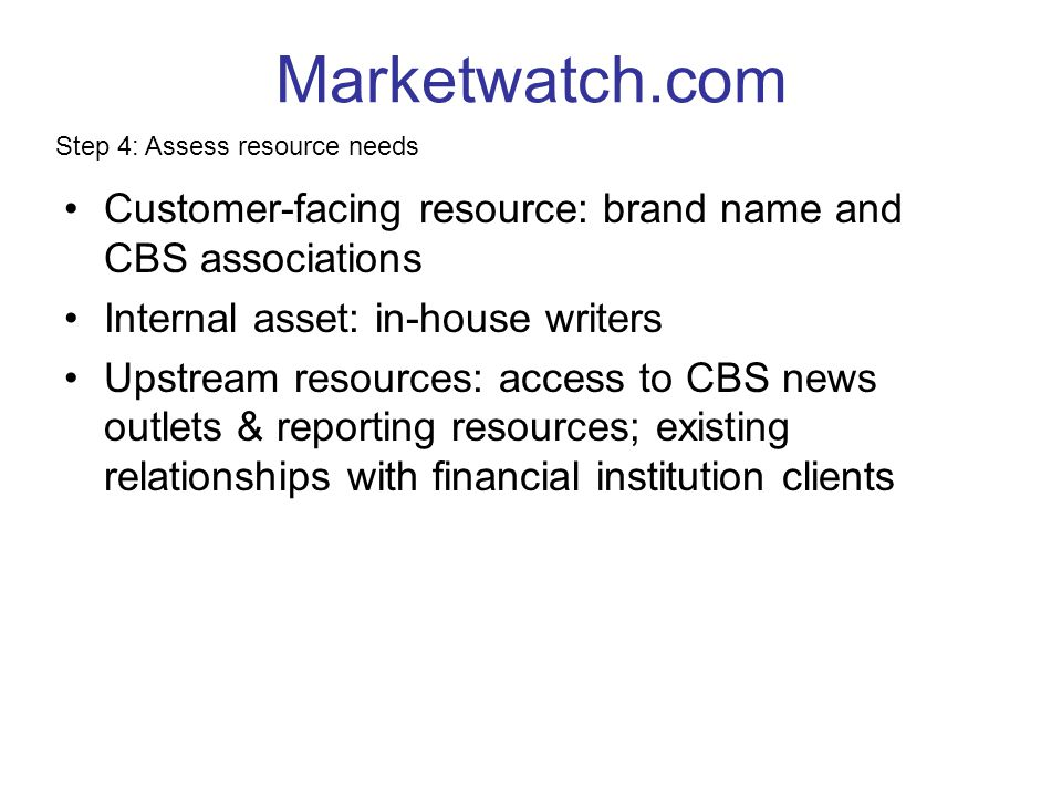 Marketwatch.com Step 4: Assess resource needs. Customer-facing resource: brand name and CBS associations.