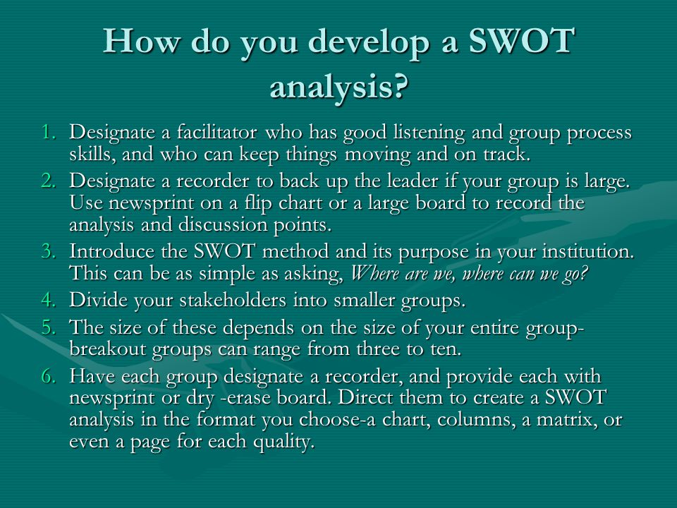 How do you develop a SWOT analysis