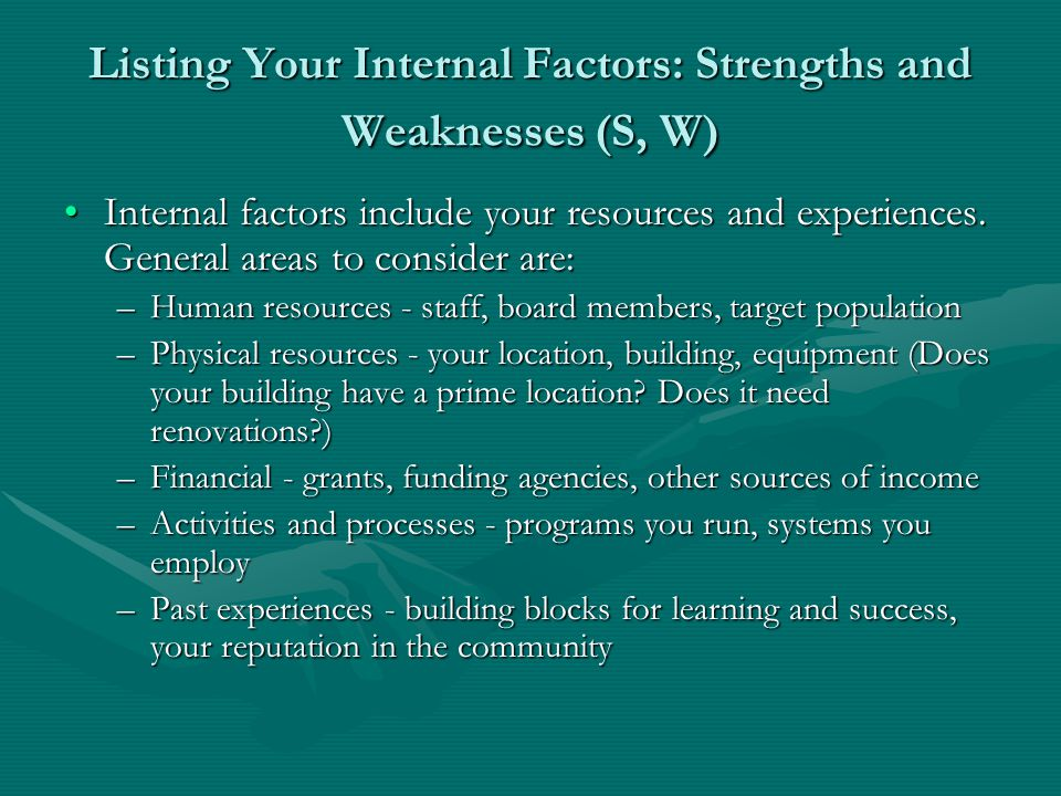 Listing Your Internal Factors: Strengths and Weaknesses (S, W)