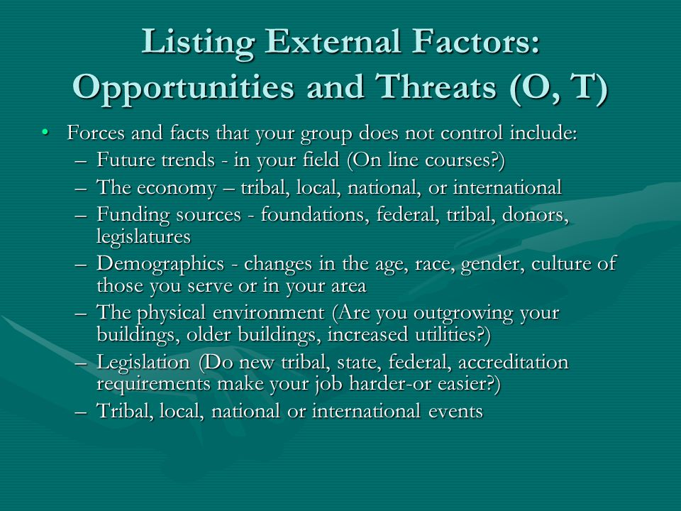 Listing External Factors: Opportunities and Threats (O, T)