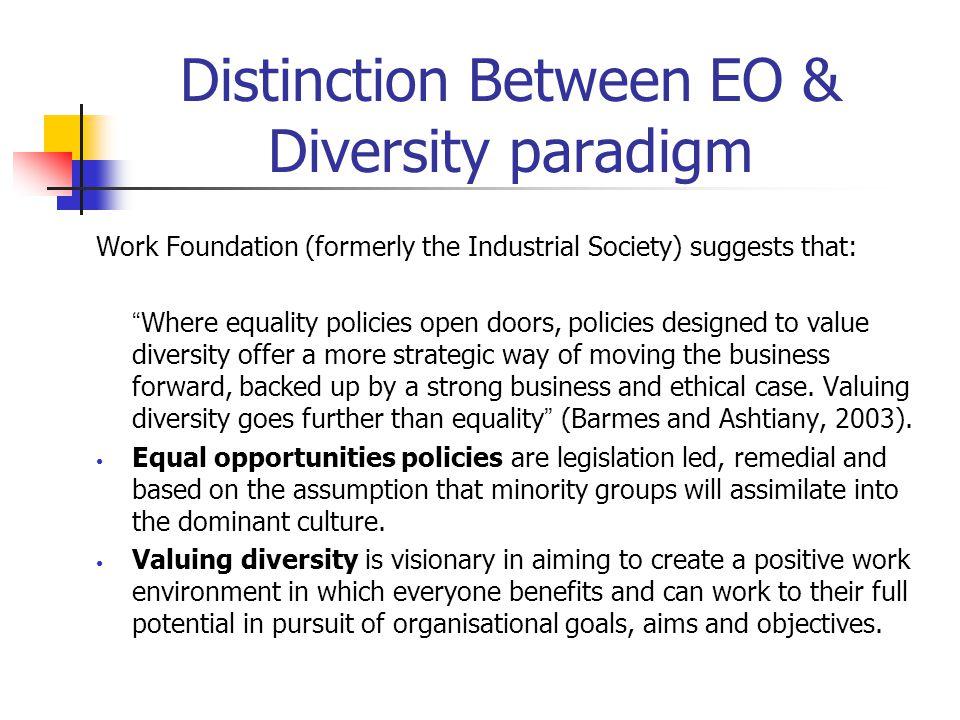 Distinction Between EO & Diversity paradigm