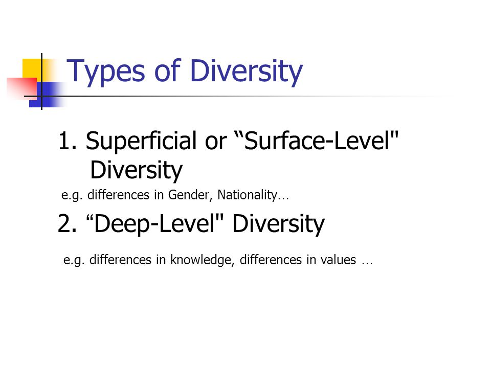 Types of Diversity 1. Superficial or Surface-Level Diversity