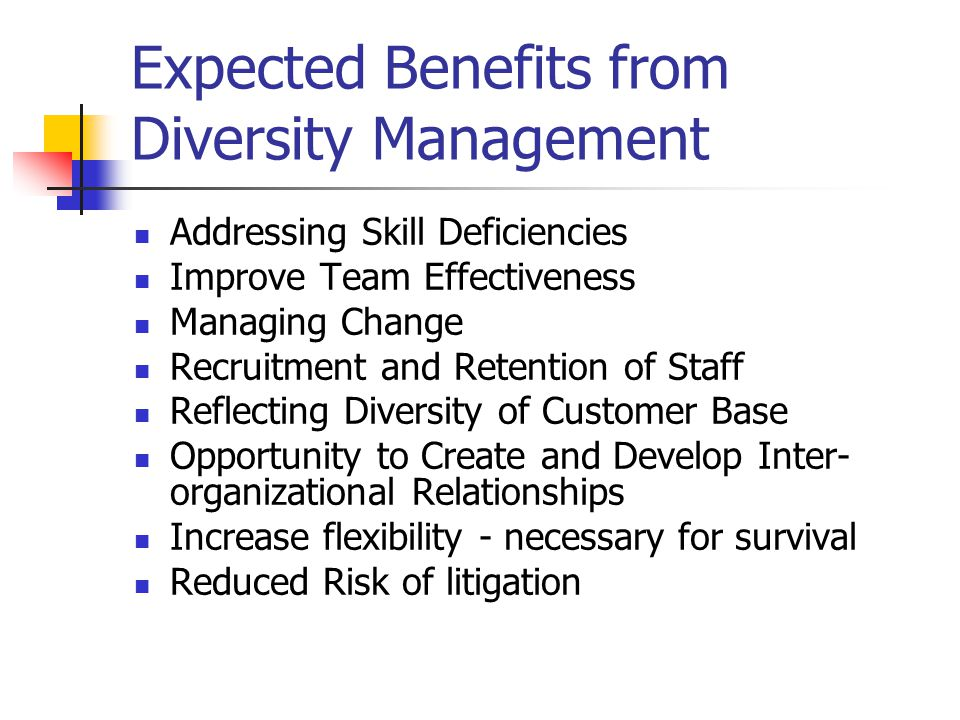 Expected Benefits from Diversity Management