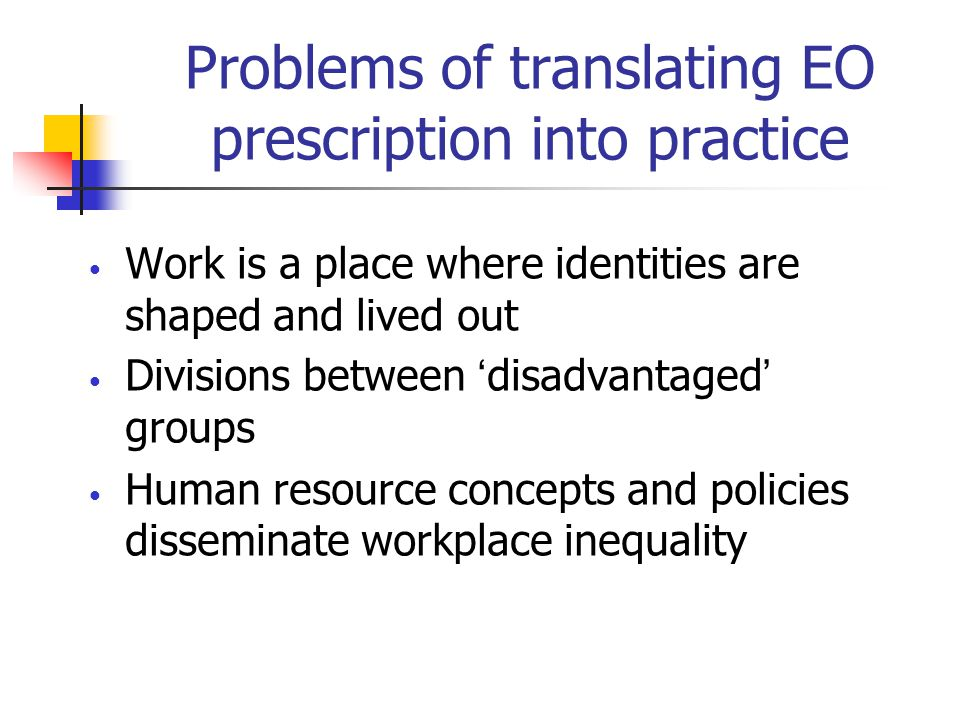 Problems of translating EO prescription into practice