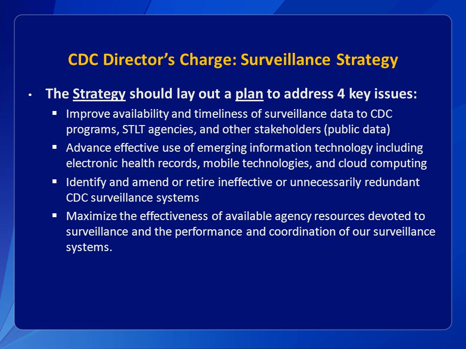 CDC Director's Charge: Surveillance Strategy