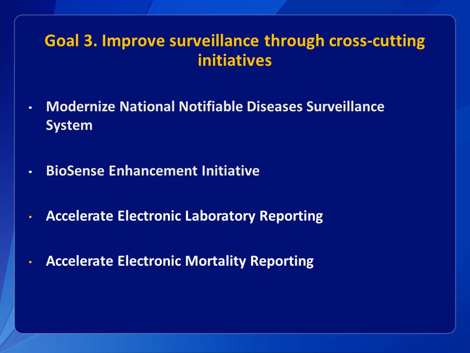 Goal 3. Improve surveillance through cross-cutting initiatives