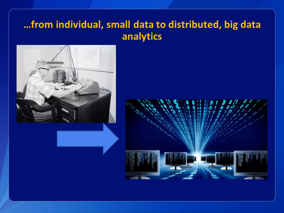 …from individual, small data to distributed, big data analytics