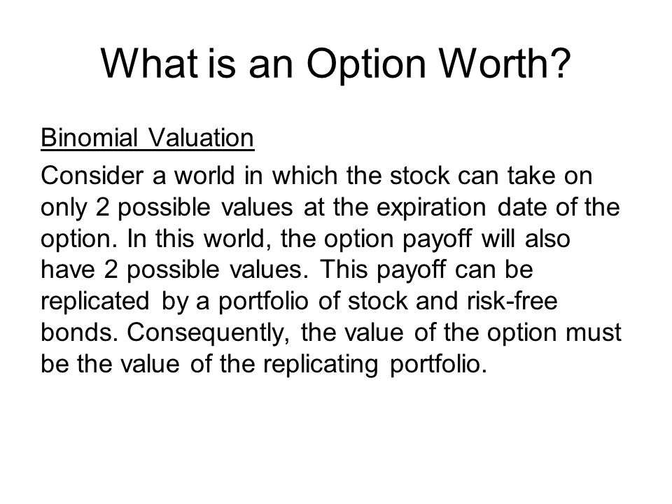 What is an Option Worth Binomial Valuation