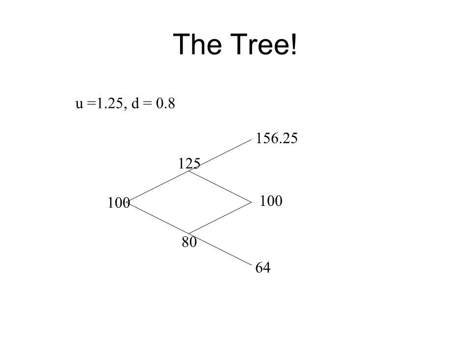 The Tree! u =1.25, d = 0.8 100 80 125 156.25 64
