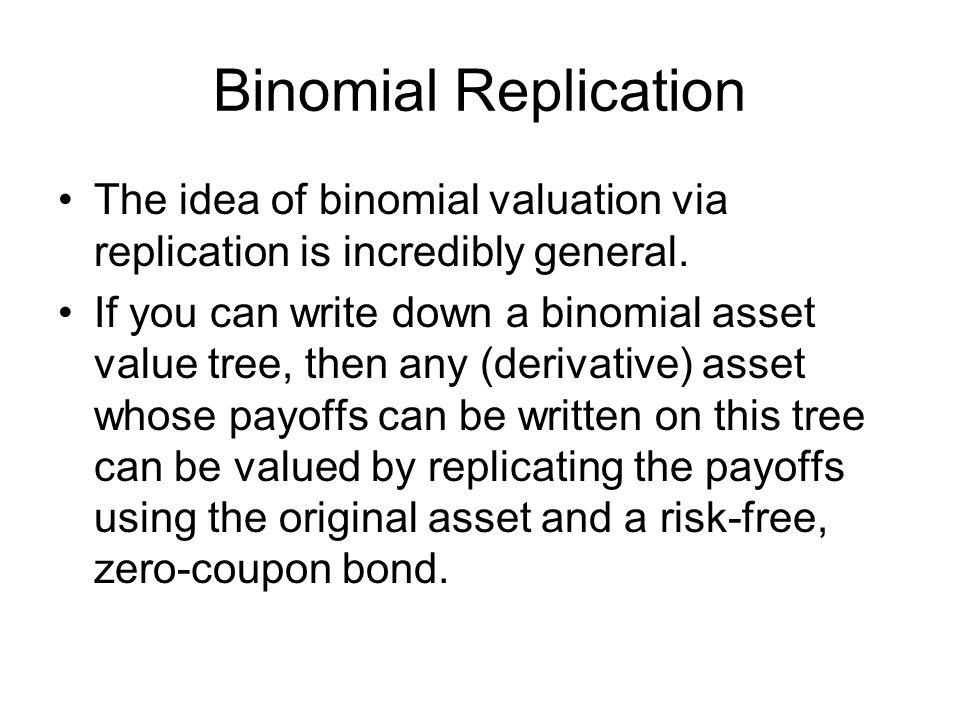 Binomial Replication The idea of binomial valuation via replication is incredibly general.