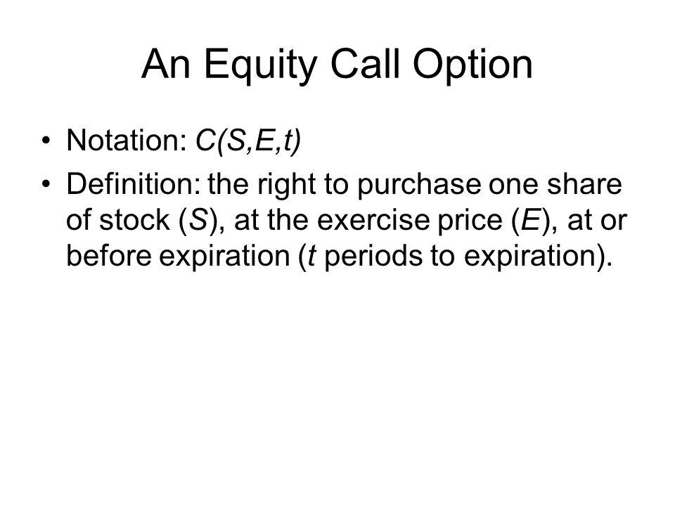 An Equity Call Option Notation: C(S,E,t)