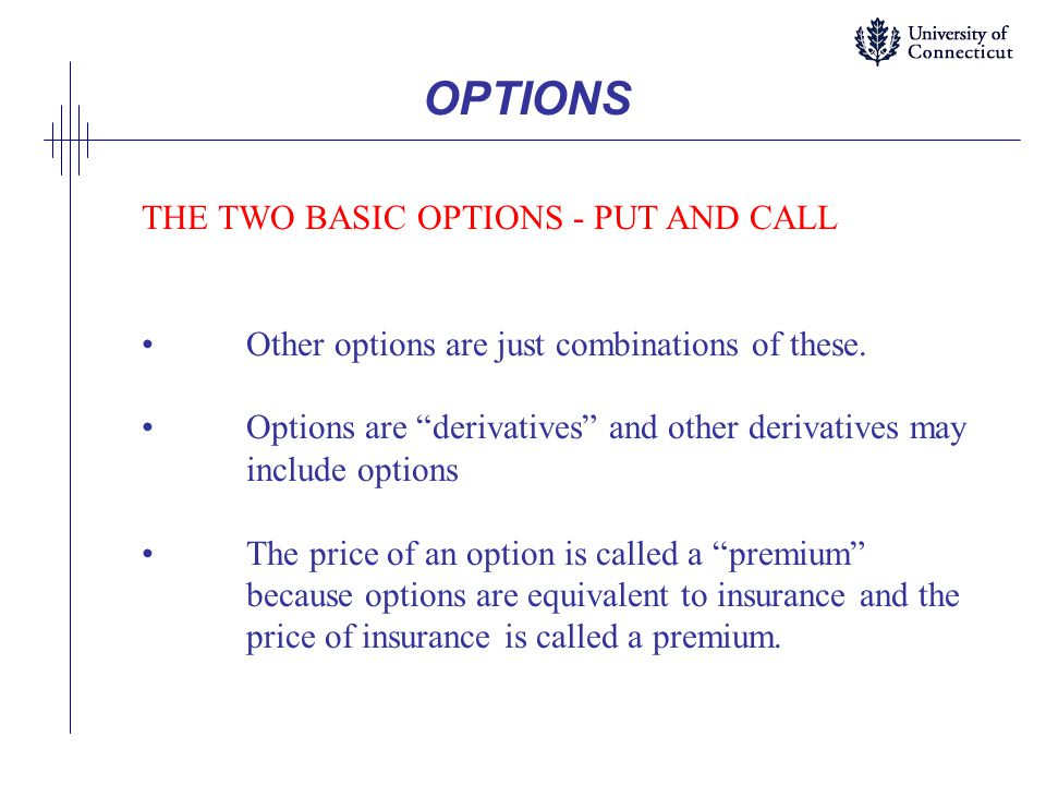 OPTIONS THE TWO BASIC OPTIONS - PUT AND CALL