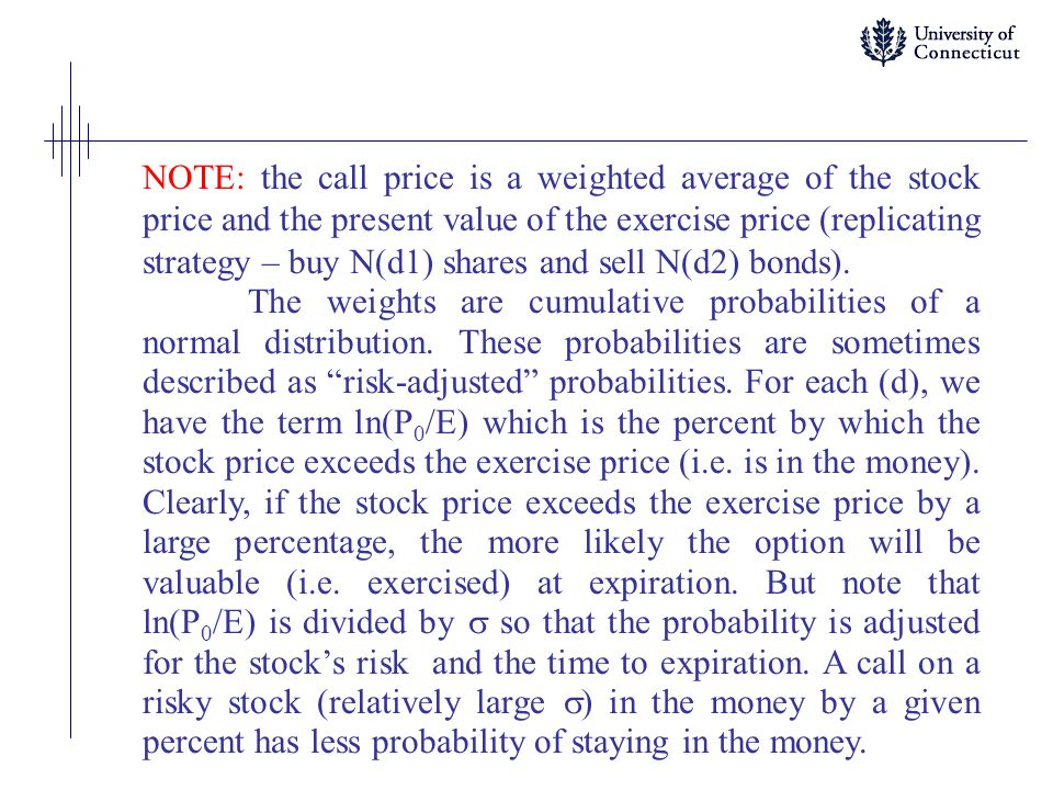 NOTE: the call price is a weighted average of the stock price and the present value of the exercise price (replicating strategy – buy N(d1) shares and sell N(d2) bonds).