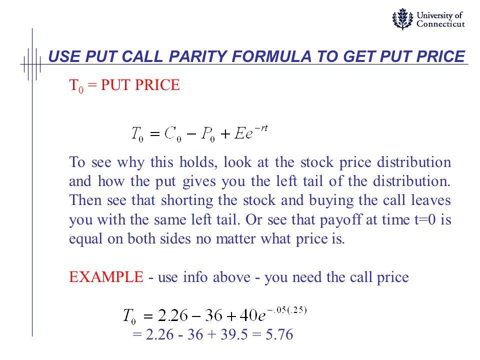 USE PUT CALL PARITY FORMULA TO GET PUT PRICE