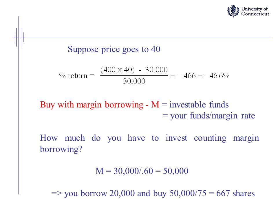 Suppose price goes to 40 Buy with margin borrowing - M = investable funds. = your funds/margin rate.
