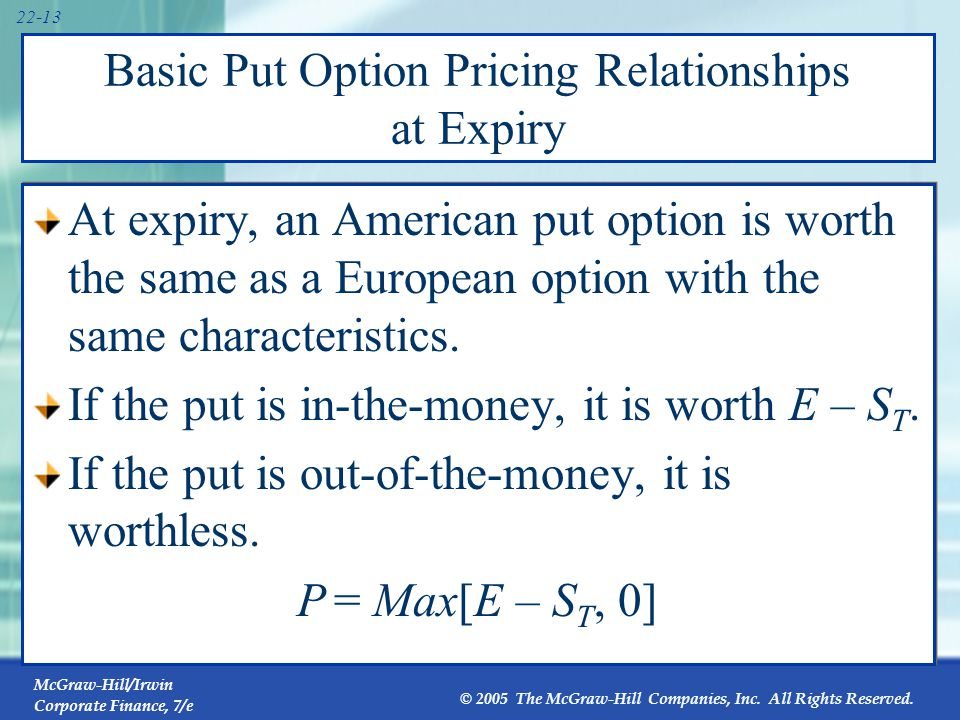 Put Option Payoffs Exercise price = $50 Buy a put 60 50 40