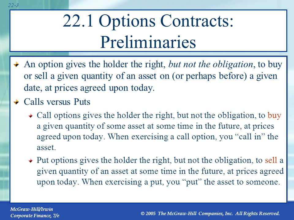 22.1 Options Contracts: Preliminaries