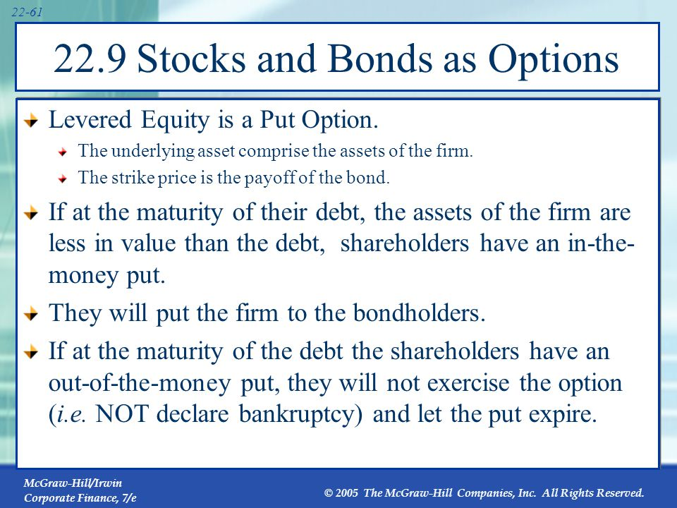 22.9 Stocks and Bonds as Options