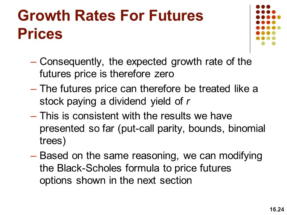 Growth Rates For Futures Prices