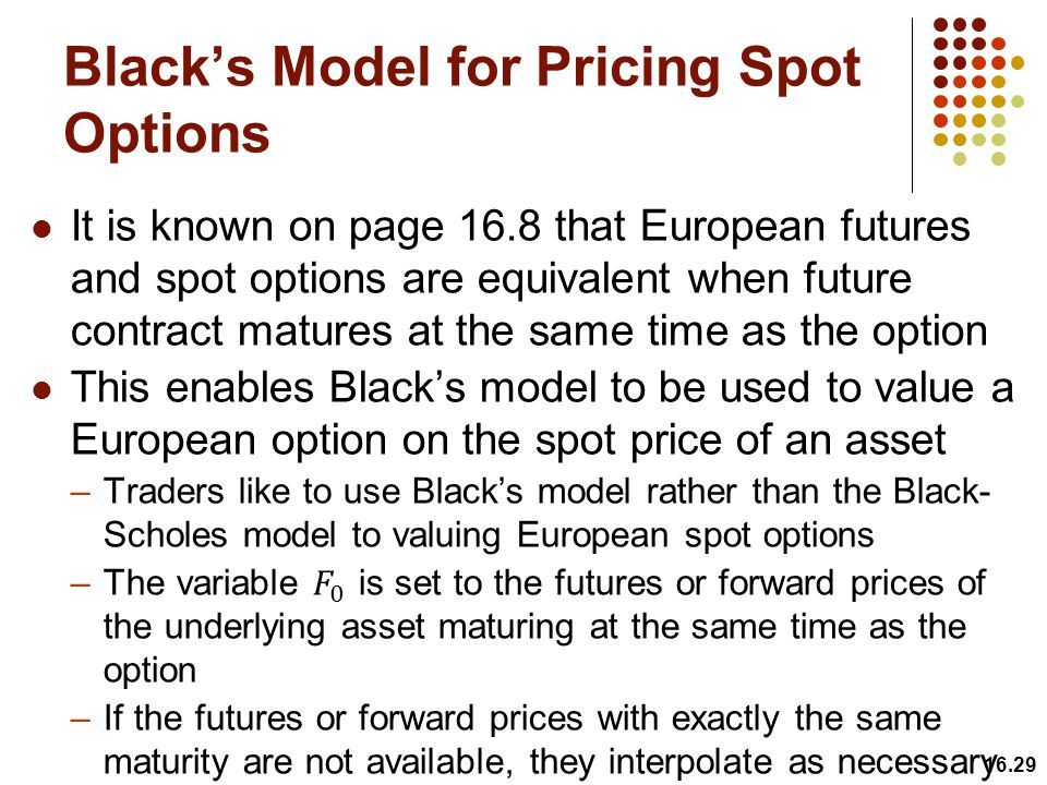 Black's Model for Pricing Spot Options