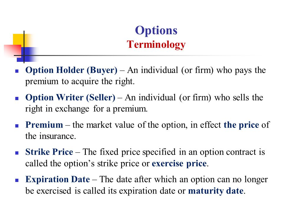 Options Terminology Option Holder (Buyer) – An individual (or firm) who pays the premium to acquire the right.