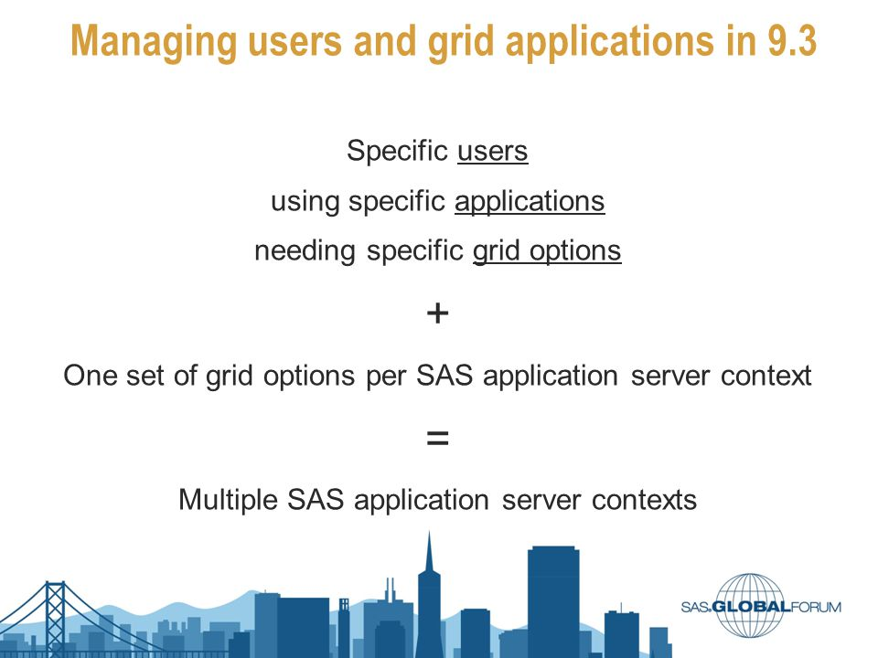 Managing users and grid applications in 9.3