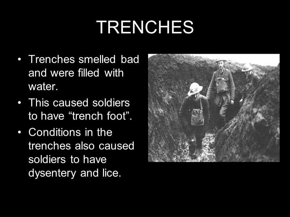 TRENCHES Trenches smelled bad and were filled with water.