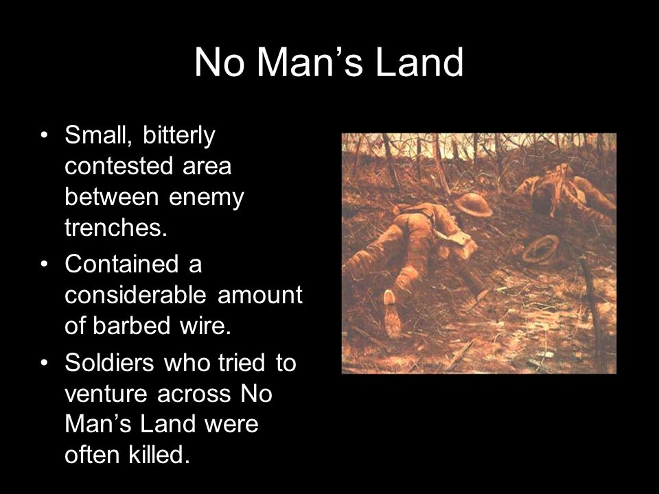 No Man's Land Small, bitterly contested area between enemy trenches.