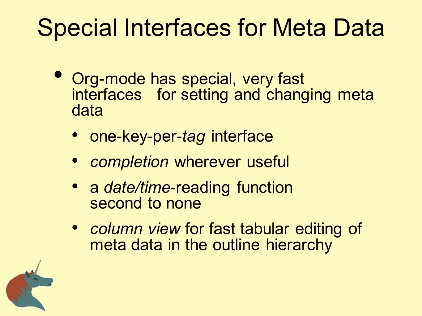 Special Interfaces for Meta Data