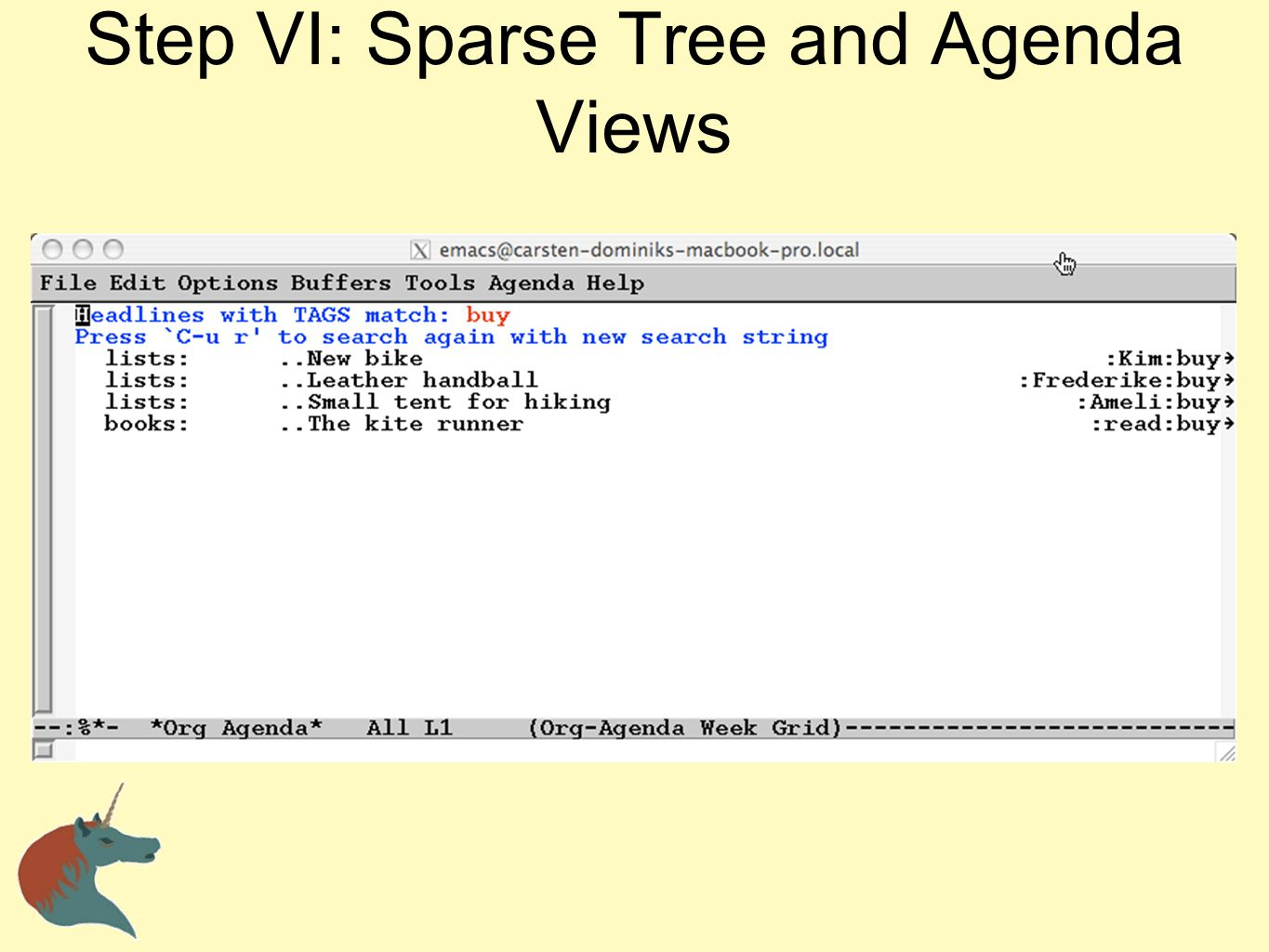 Step VI: Sparse Tree and Agenda Views
