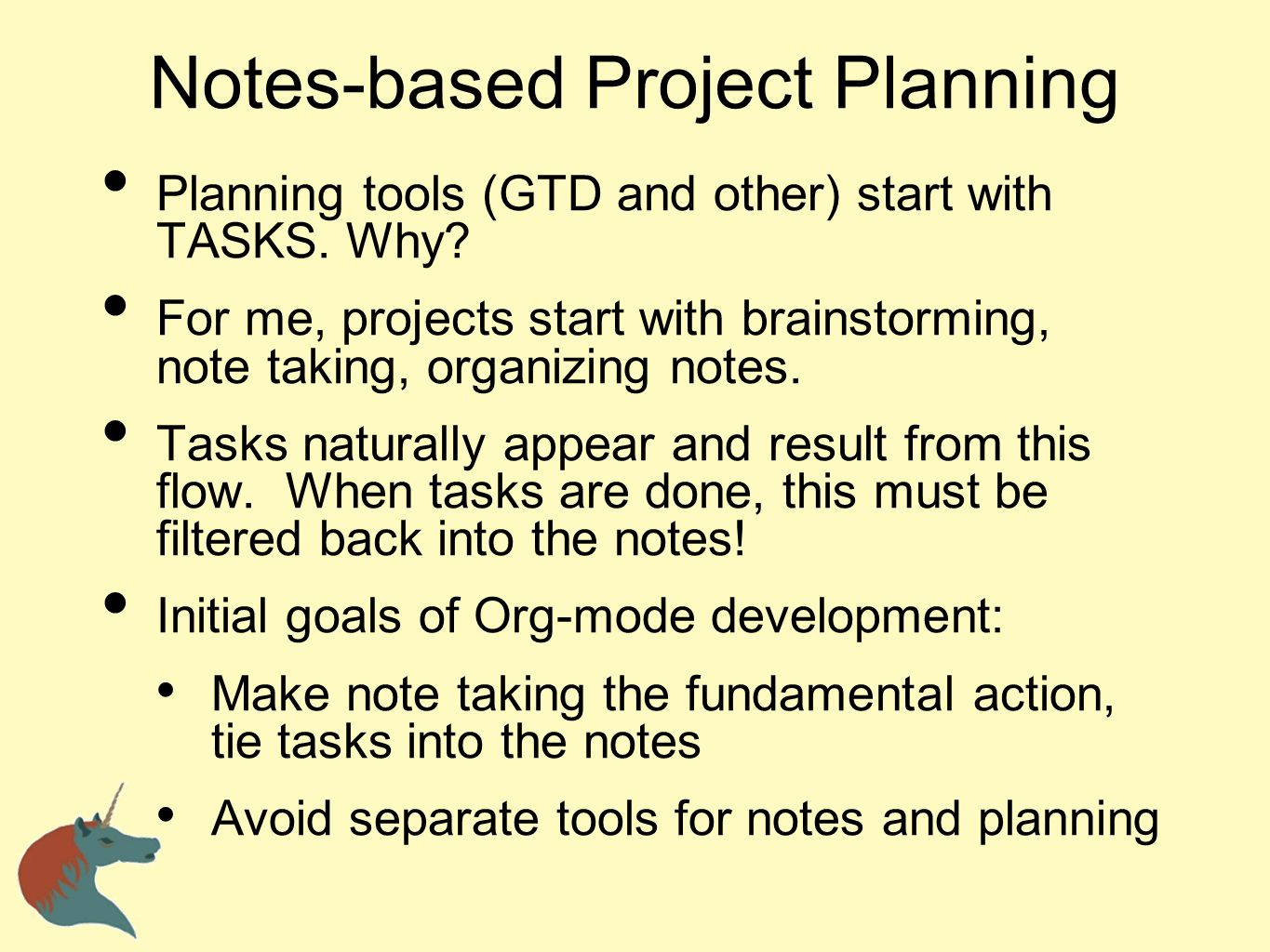 Notes-based Project Planning