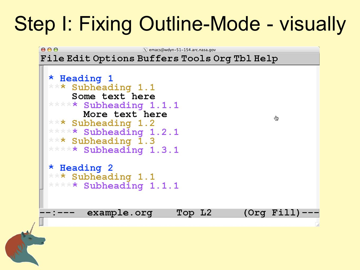 Step I: Fixing Outline-Mode - visually
