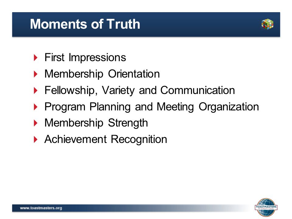 Moments of Truth First Impressions Membership Orientation